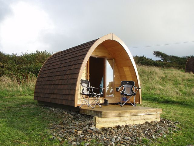 """Camping pods - all the fun of camping without the tent. Key benefits include: not freezing, water tight and wooden deck with roof overhang."""