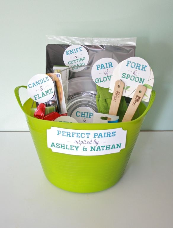 perfect pairs gift basket - this was a hit at a bridal shower. Also good for housewarming gifts!