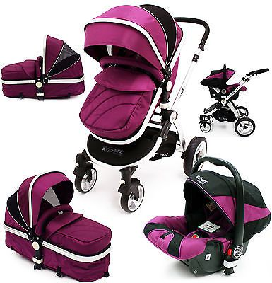 iSafe 3 in 1 Pram System - Plum (Purple) Travel System + Carseat in Baby, Pushchairs, Prams & Accs., Pushchairs & Prams | eBay