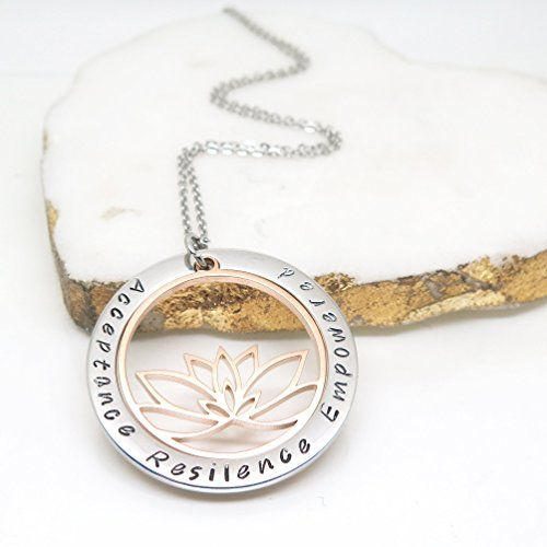 Lotus Flower Yoga Inspired Personalised Necklace Amazoncouk