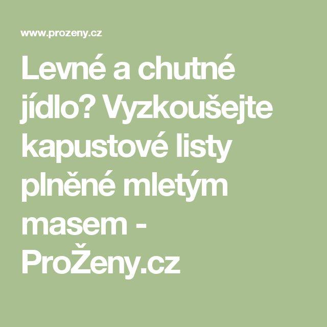 Levné a chutné jídlo? Vyzkoušejte kapustové listy plněné mletým masem - ProŽeny.cz