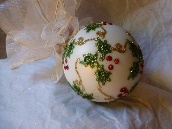 Holly Glass Ornament by KARCREATIONS on Etsy