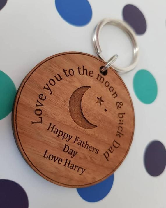 Personalised Dad Keyring Gift Engraved Wooden Father Quote Luggage Tag Key Ring