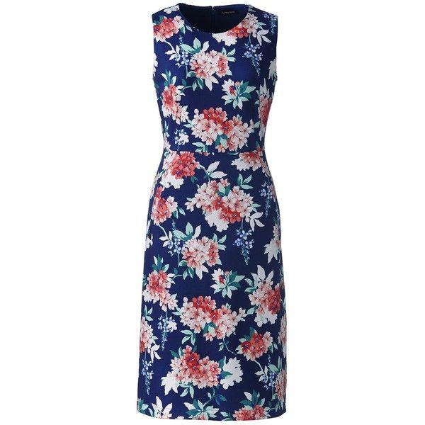 Lands' End Women's Petite Sleeveless Ponté Sheath Dress ($45) ❤ liked on Polyvore featuring dresses, neutral, blue dress, sleeveless sheath dress, lands end dresses, petite special occasion dresses and cocktail dresses