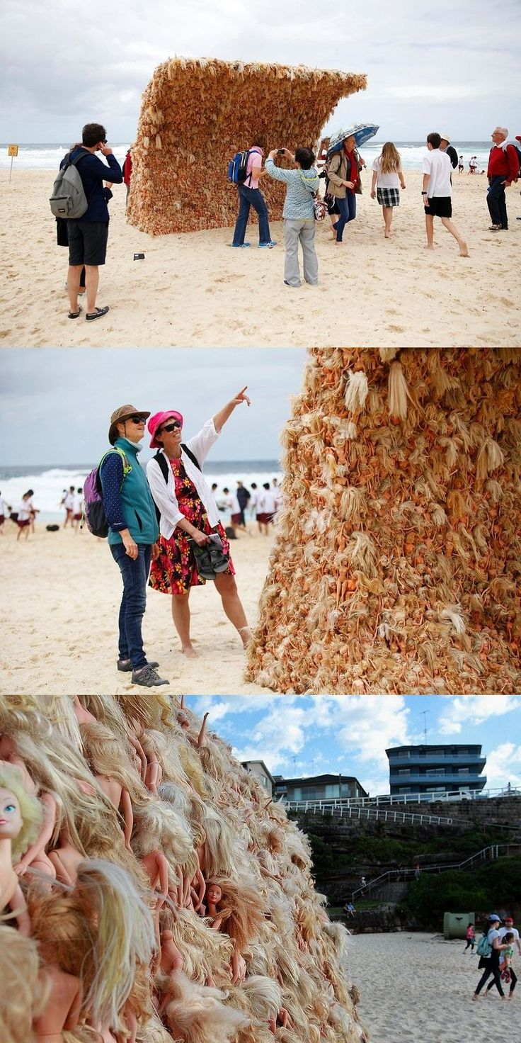A sculpture called Wave 2, by Annette Thas, is made up of hundreds of Barbie dolls