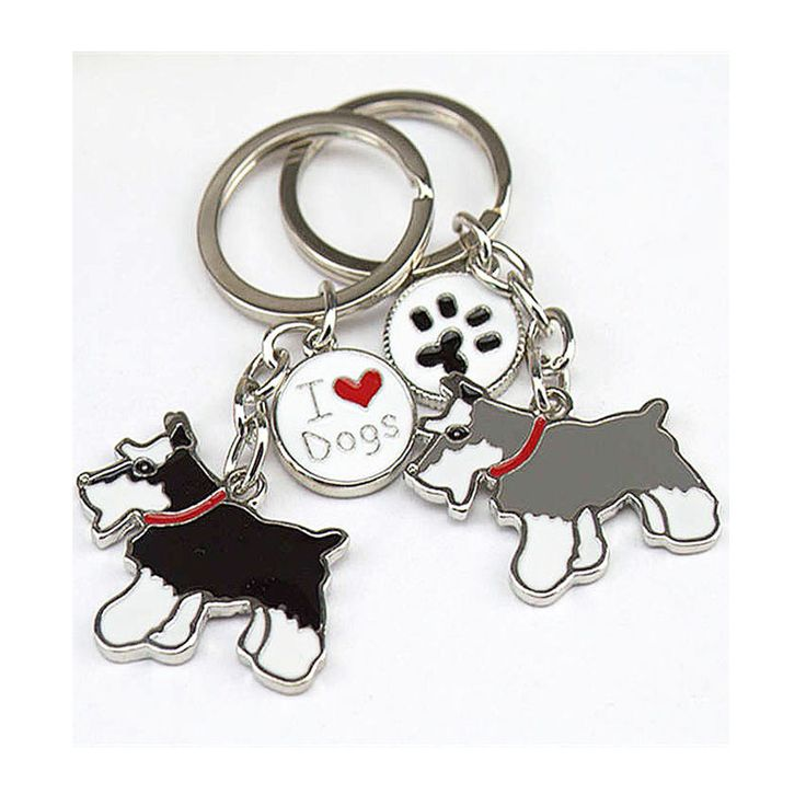 Wholesale NEW PET key chain schnauzer Dogs Keychain car DIY Pet pendants metal key ring gift keychains woman Tag key Charm cheap