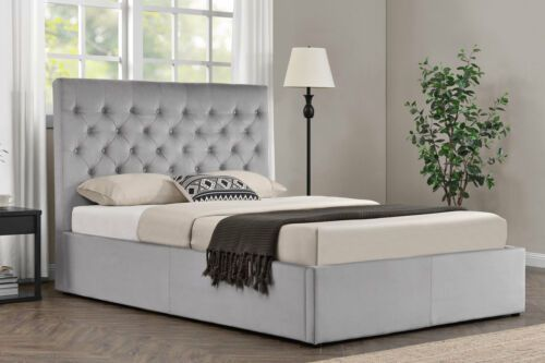 Details About Grey Velvet Upholstered Bed Frame Lift Up Ottoman Storage Double King Size Upholstered Bed Frame Ottoman Storage Bed Velvet Upholstered Bed