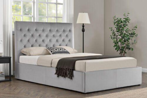 Details About Grey Velvet Upholstered Bed Frame Lift Up Ottoman
