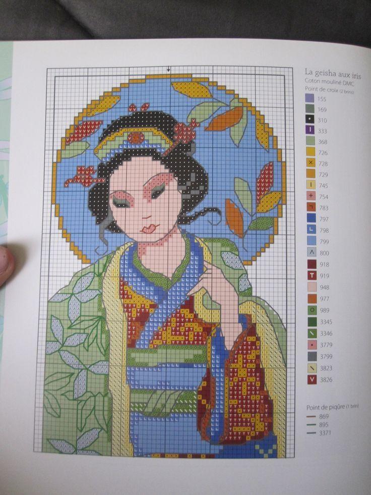 point de croix geisha - cross-stitch geisha