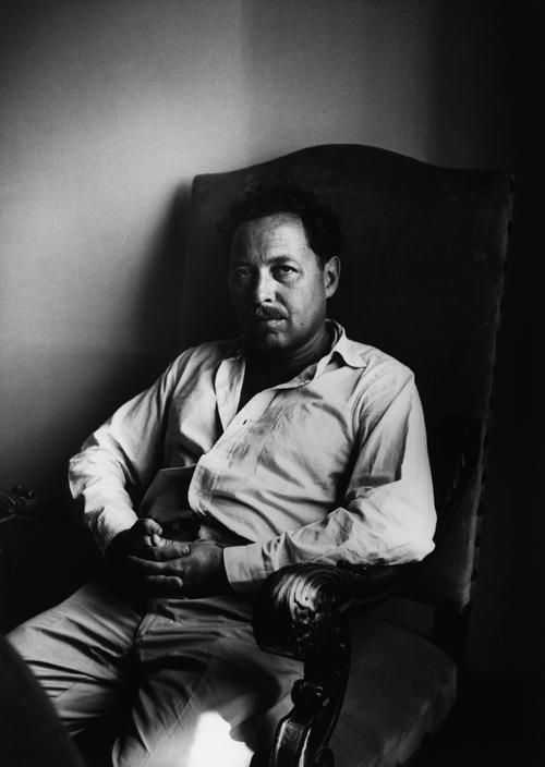 "Tennessee Williams, (photo by Ara Guler) 1955 ""Why do I write?  Because I find life unsatisfactory."" —Tennessee Williams"