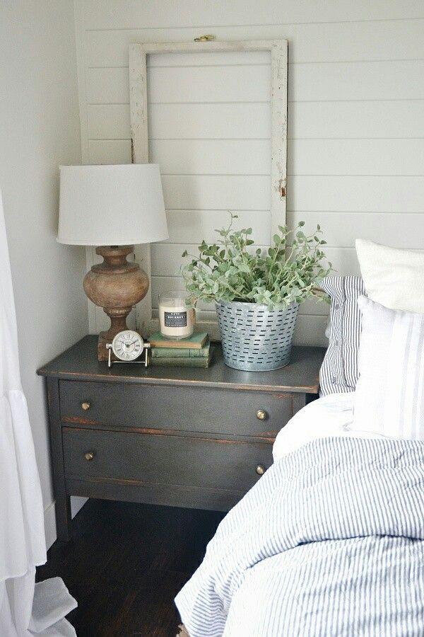 Cottage feel w ticking stripe bedding