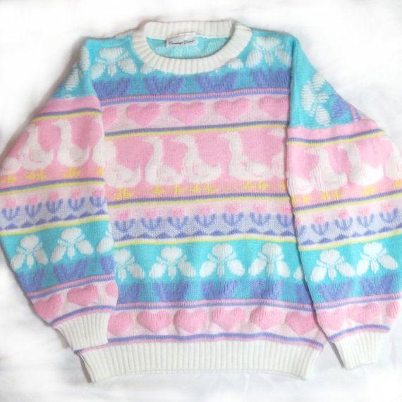 Trovato su Etsy: Vintage maglione pastello, fairy kei, cuori, anatre, kawaii, carino, dolce, anni 80, anni 90, anni ottanta, novanta, ordinare il grunge, pastello goth, primavera