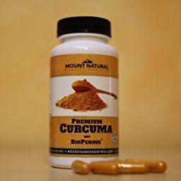 Mount Natural Curcuma Kapseln hochdosiert mit Bio Kurkuma-Pulver + Curcumin Extrakt (entspricht ca. 10.000 mg pro Tagesdosis) und Bioperine Piperin, laborgeprüfte Qualität, 90 vegane, leicht zu schluckende Kapseln