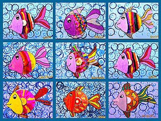 Plastiquem: Gorgeous fish paintings - bubble background