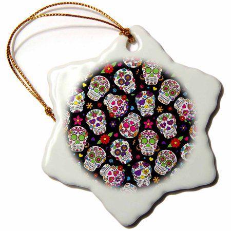 3dRose Colorful Scattered Sugar Skulls On A Black Background Pattern, Snowflake Ornament, Porcelain, 3-inch