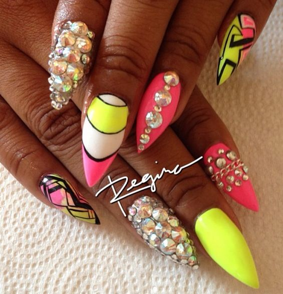 black pink n yellow n white with iridescent bling Stiletto Nails by Regina