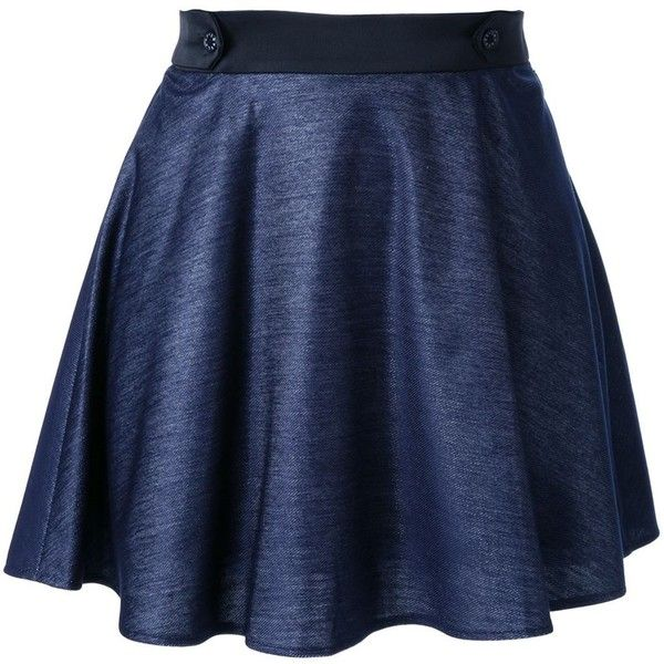 Loveless A-line short skirt ($190) via Polyvore featuring skirts, blue, blue skirt, knee length a line skirt, blue a line skirt and a-line skirt