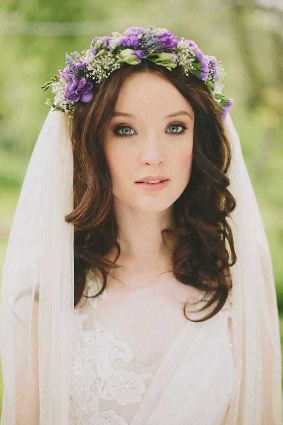 Pantone's color of he year - Ultra Violet - bridal crown - purple flowers - wedding - ceremony - bride - flower crown