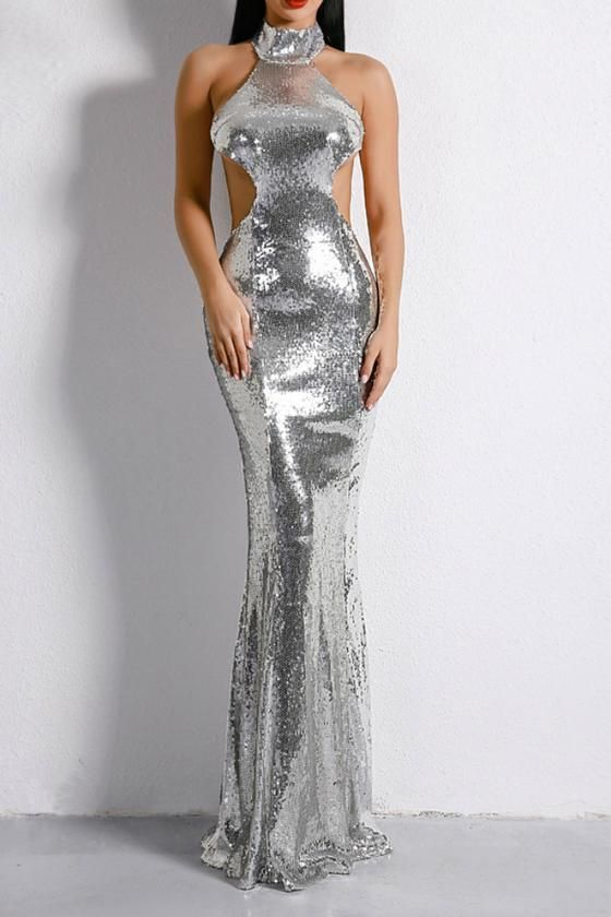 b7b3e46e20adf Honey Couture MONICE Silver Cut Out Halter Neckline Sequin Formal Gown Dress  Honey Couture One Honey