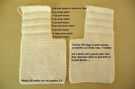 explications pour tricoter le chausson