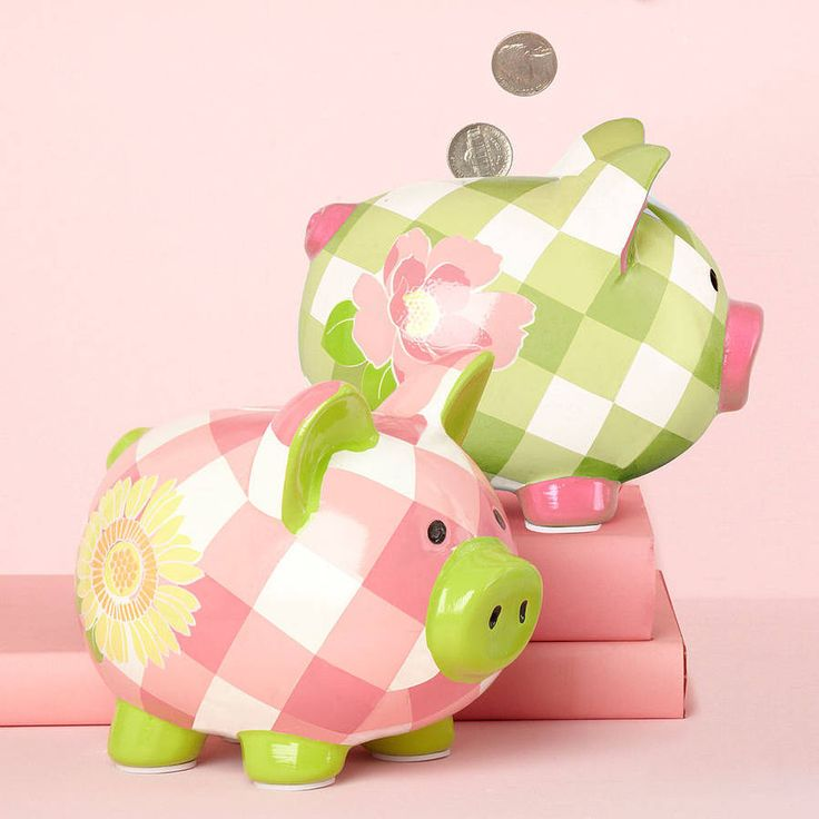 gingham and blossom piggy bank by the orchard | notonthehighstreet.com