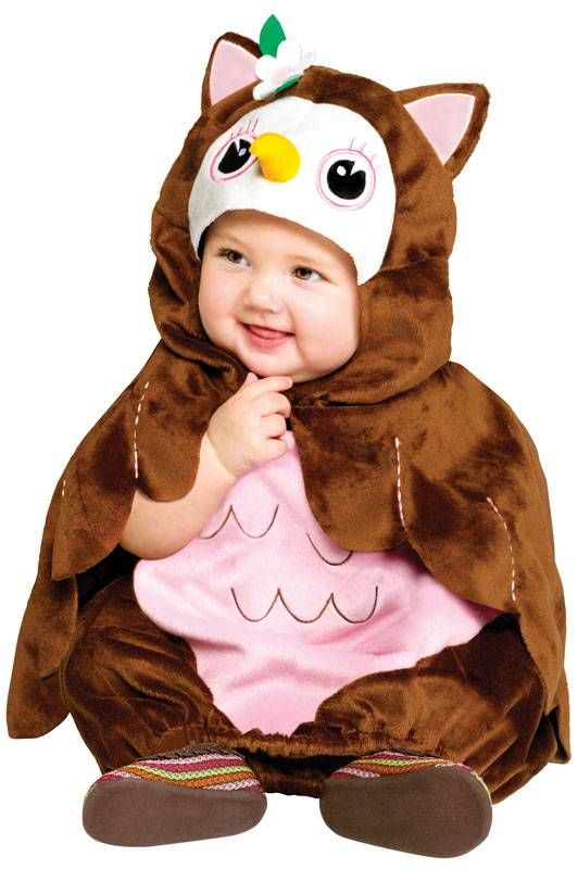 Cute Hoot Owl Baby Costume Includes soft brown and light pink costume with elastic hem for easy changing and cute matching owl hood with eyes, break, flower and ear and attached cape with pink stitch detailing. This Owl Costume is available in Infant size standard (up to 24 months).  Product #: WC11505 Sale Price: $27.88