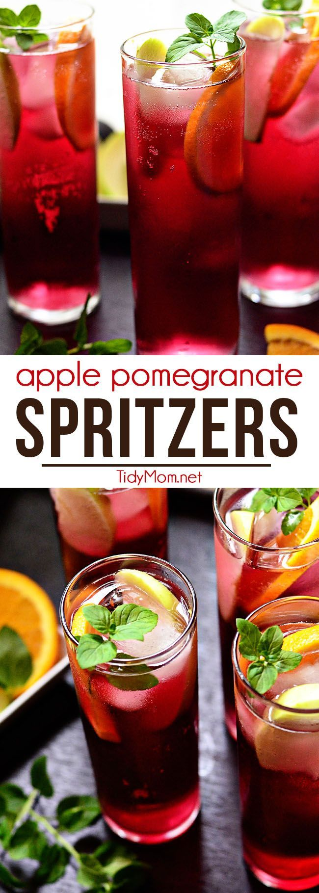 Apple Pomegranate Spritzers are fizzy, fruity and full of antioxidants (hello pomegranate!) and non-alcoholic. You could swap out the lemon-lime soda for white wine if you'd prefer a boozy version. Perfect for any occasion! Print this simple and refreshing cocktail recipe at TidyMom.net