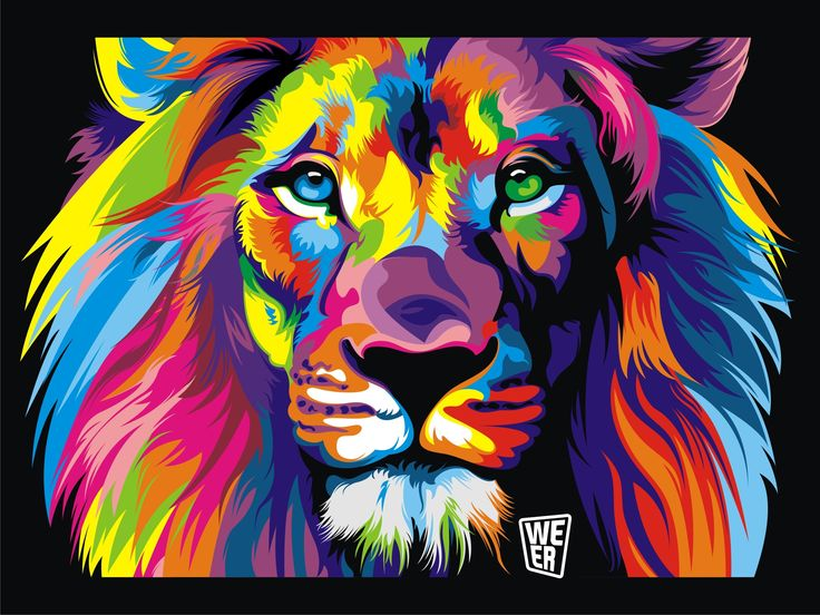 Colorful lion painting - photo#38
