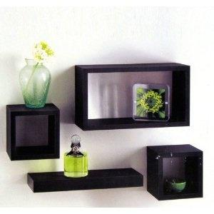 Set of 4 Black Wooden Wall Mounted Retro Floating Cube Shelving Storage Display Shelf Shelves
