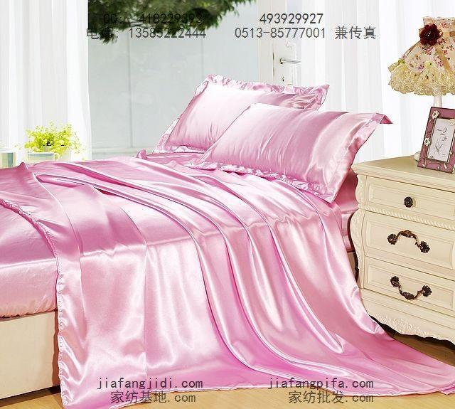 rosa de seda natural amoreira cachecol de cetim da cama conjunto sólido tamanho king queen edredons colcha