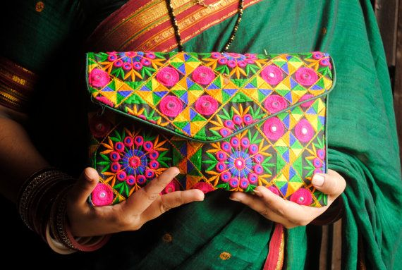 Multicolour Banjara Patchwork clutch bag by FolkRoute on Etsy