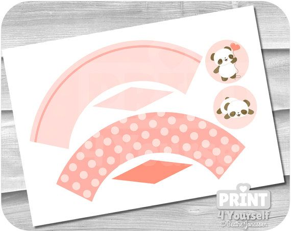 Pink Panda Bear Cupcake Kit  Instant Download by Print4Yourself