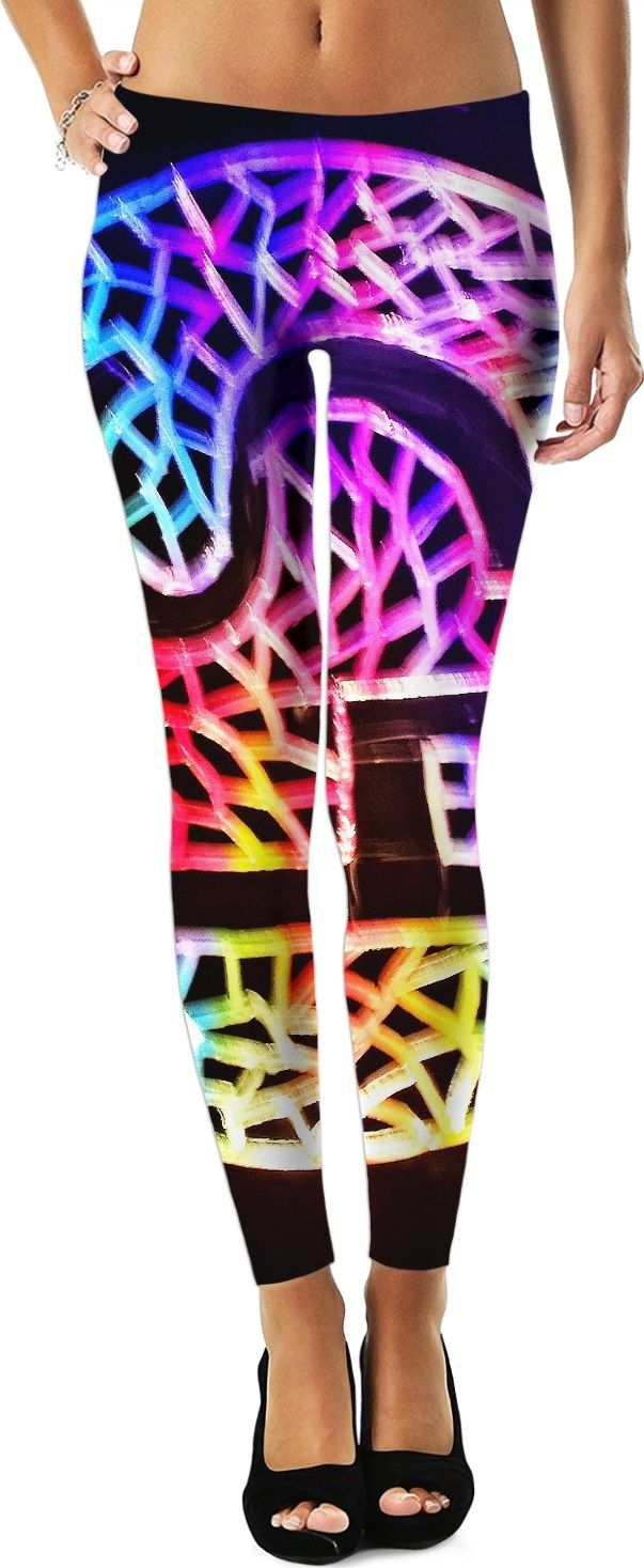 a0321eff1d4e96 S4 Neon Rainbow Engrave Stain Glass Logo Custom Leggings with a neon pink ,  purple yellow