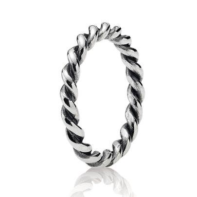 Pandora Silver Narrow Twisted Ring