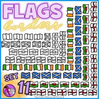 Flag Borders Clipart Doodle Style (England, Scotland, Wales, Ireland)