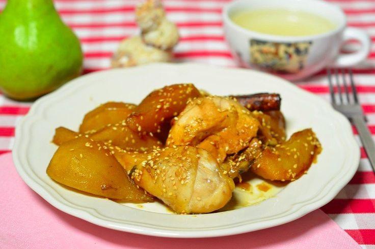 Курица с карамелизированными грушами и корицей