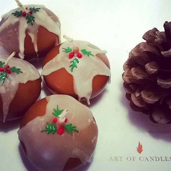 Christmas Pudding candles  floating candles  by artofcandles