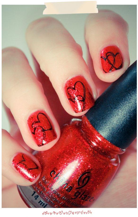 cuteValentine'S Day, Heart Nails, Nails Art, Valentine Day, Nails Design, China Glaze, Valentine Nails, Nails Ideas, Nails Polish