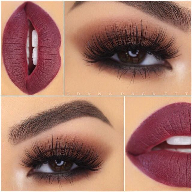 "Smoky eyes and dark lips @danapackett Eyes: Shadow Couture palette Lashes: @blinkingbeaute No 2 Lips: ""Trust Issues"" liquid lipstick lined with NYX Cosmetics ""Never""Lip Liner #anastasiapalette #Anastasiabeverlyhills #liquidlips"
