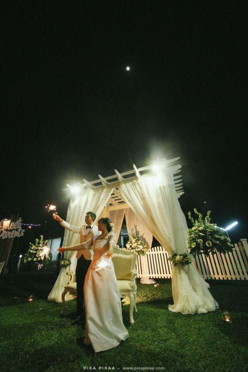 Wisnu & Gina Wedding. garden wedding inspiration. fireworks.