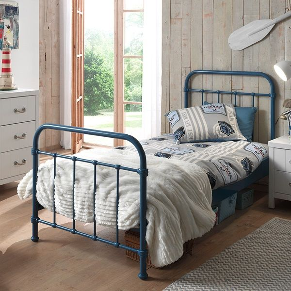 New York Metal Kids Bed In Blue Kid Beds Single Bed Bunk Beds