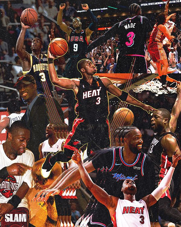 Dwyane Wade Career Collage On Behance Dwyane Wade Nba Basketball Art Basketball Players Nba
