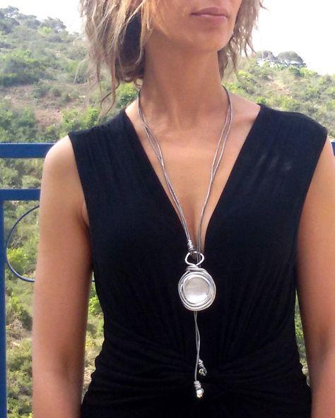 silver long statement necklace wrapped stone door danielapalatnik