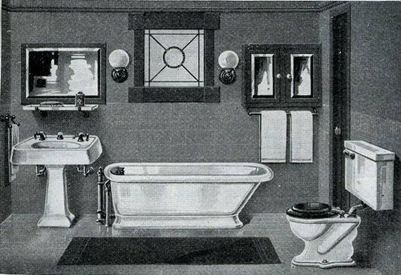 Craftsman Bathrooms available in Harris Homes in 1920. Bungalow Bath with pedestal sink and tub.
