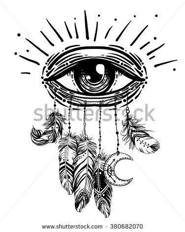 Hand drawn Native American Indian talisman dreamcatcher with eye, feathers and moon. Vector hipster illustration isolated on white. Ethnic design, boho chic, tribal symbol. Coloring book for adults.