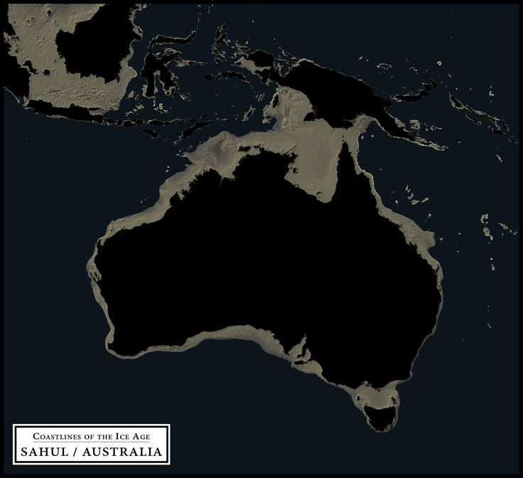 Coastlines of the Ice Age - Sahul / Australia - Alternate version which shows only the extended land