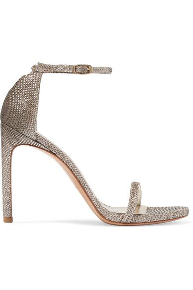 Heel measures approximately 120mm/ 5 inches  Champagne mesh  Buckle-fastening ankle strap Designer color: Platinum Noir Made in Spain