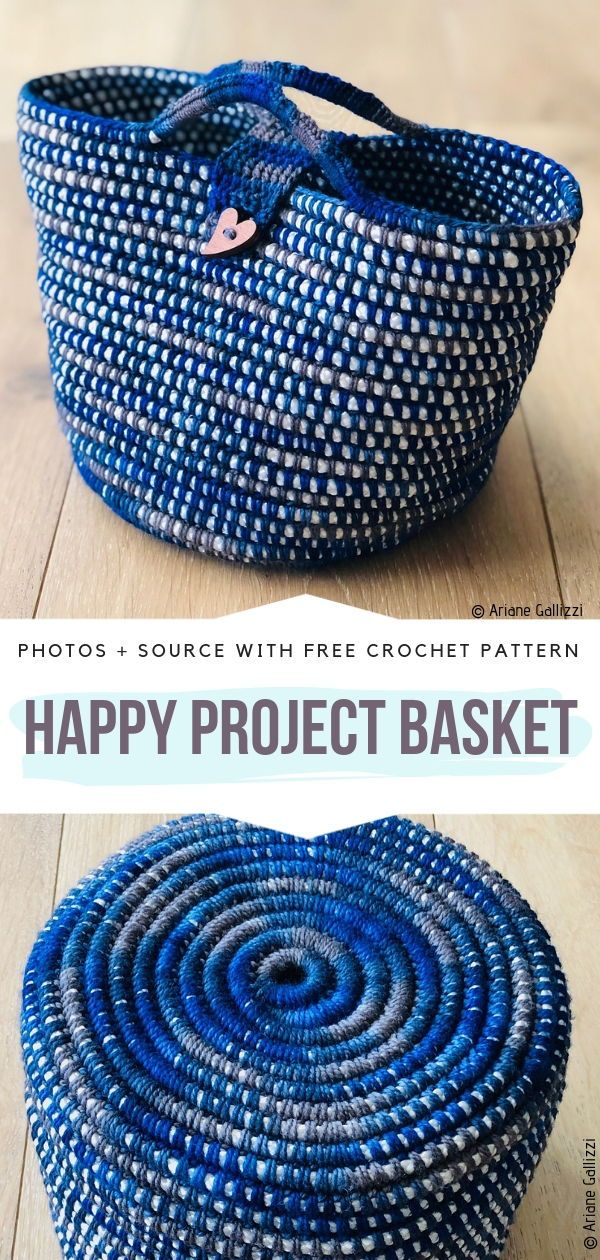 Happy Project Basket Free Crochet Pattern #crochetbasket
