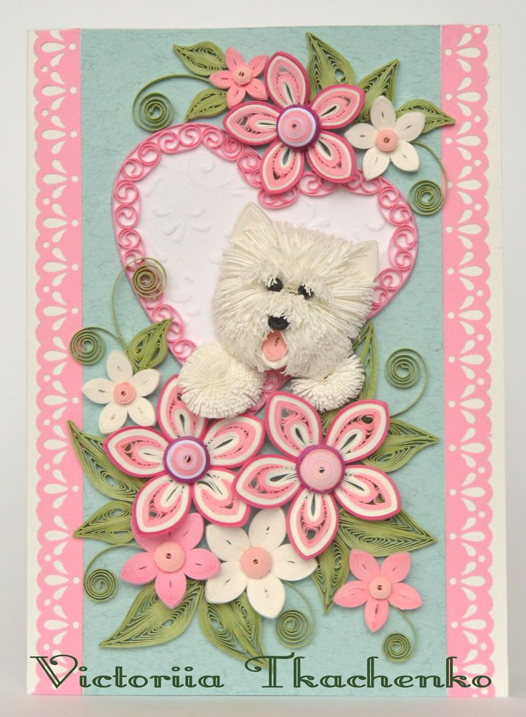 Valentine's quilling card - Quilling Card - Love quilling card - Charming West Highland Terrier - Lovely white dog