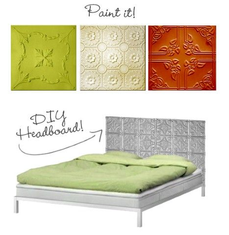 DIY headboard idea using tin tiles
